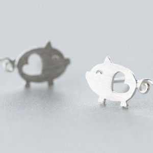 Silver Mini Pig Earrings Heart Cut Out Stud New